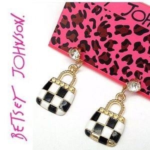 Betsey Johnson handbag earrings purse NWT hanging